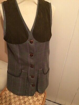 New Ladies Laksen Lismore Tweed Shooting Vest Size EU38 (UK12) Was £225 Now £125 • 125£