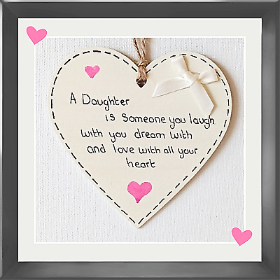 £2.94 • Buy Handmade Friendship Plaque, A Daughter Is Someone You Laugh With ,birthday Gift