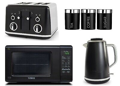 Breville Lustra Set Toaster Kettle Tower Touch Control Microwave Canisters BLACK • 279.99£