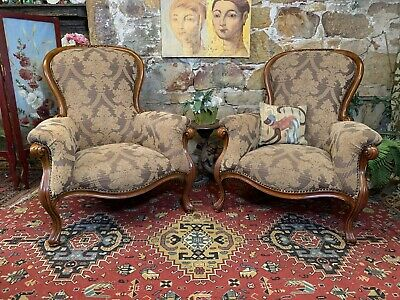 AU305 • Buy Stunning Pair Vintage French Louis Style Chesterfield Lounge ArmChair~Chair~
