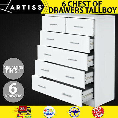 AU162.11 • Buy Artiss Tallboy Dresser 6 Chest Of Drawers Table Cabinet Bedroom Storage White