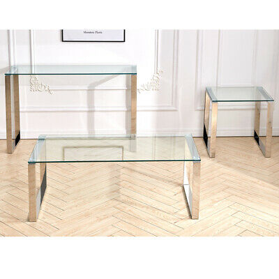 Tempered Glass Coffee Console End Table Chrome Legs Living Room Home Furniture • 102.95£