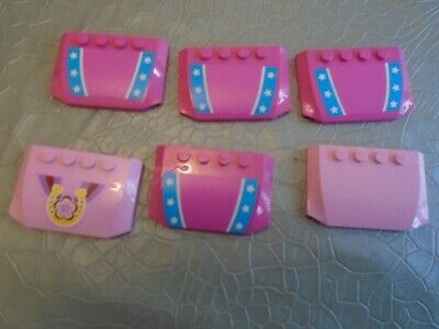 LEGO 52031 Wedge 4 X 6 X 2/3 Curved Pinks - Lot Of 6 • 1.25£