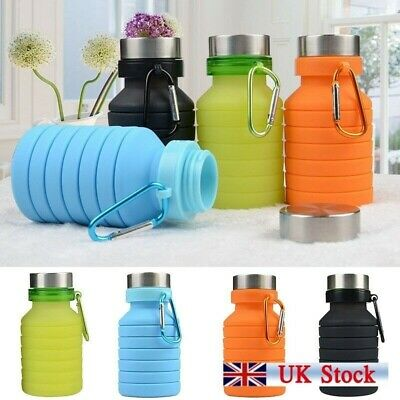 550ml Silicone Retractable Water Bottle Portable Collapsible Sport Cup BPA-free • 5.20£