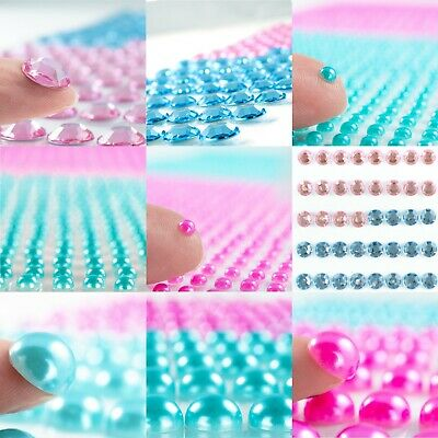 Pink & Blue Pearl & Gem Stickers Sheet Card Craft Embellishment Small-Large Pack • 2.99£