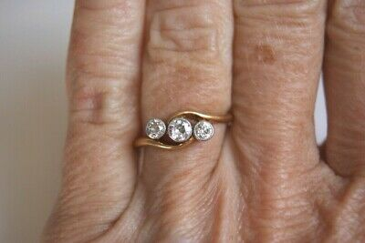 Fine Antique Edwardian 18ct Gold 0.30 Ct Old Cut Crossover Three Stone Ring 2.4g • 495£
