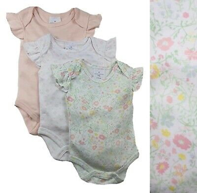 £8.49 • Buy Baby Girls Summer Bodysuits LAURA ASHLEY 3 Pack Pink Floral Cotton Frilly Vests