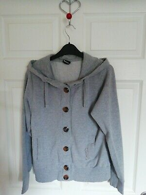 Ladies BENCH Grey COTTON BUTTON FRONT HOODIE SIZE M -Pockets • 2.50£