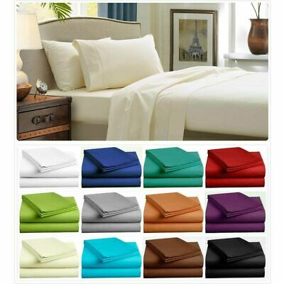 AU34.99 • Buy Single//Double/Queen/King 4/3 Pcs Bed Sheet Set Flat Fitted Pillowcases Bedding