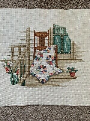 Handmade Finished Completed Cross Stitch - Chair, Patchwork Quilt & Flowers • 22£