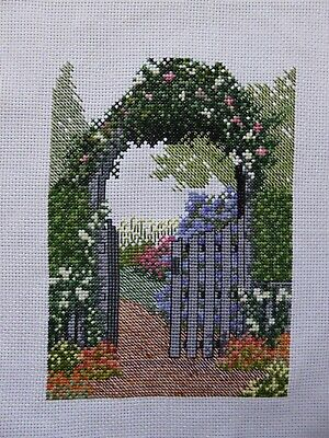 Handmade Finished Completed Cross Stitch - Flower Garden & Gate • 22£