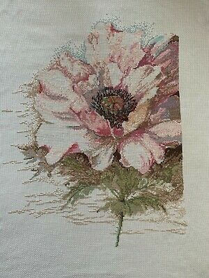 Large Handmade Finished Completed Cross Stitch - Beautiful Flower • 25£