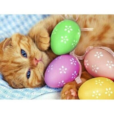 Full 5D Drill Diamond Painting Art Craft Adorable Cat DIY Stitch Easter Egg  • 6.99£