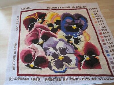 EHRMAN TAPESTRY PANSIES FINISHED  SEWING SIZE  13  X 13 . • 20£