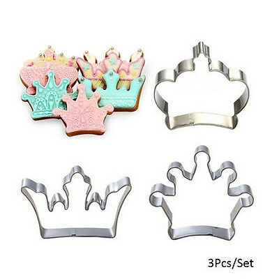 £4.11 • Buy 3 Princess Crown King Queen Party Cookie Cutter Cake Biscuit Baking Tool Mol WY