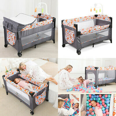 Side Sleeping Bedside Crib Baby Cot Bed Next To Me With Mattress &Wheels Playpen • 75£