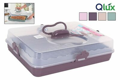 Cake Carrier Lockable Plastic Cake Storage Container 37X28X9CM BUTTERFLY • 13.95£