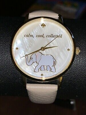 $ CDN50.97 • Buy Ladies Kate Spade New York Leather Gray Band Live Colorfully Watch Gold Elephant