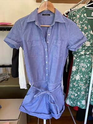 AU15 • Buy Zara Mango Blue Denim Look Jumpsuit Playsuit Sz 10 S M