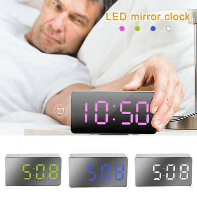 AU12.99 • Buy Mirror LED Alarm Clock Night Light Thermometer Digital Clock With USB Charging✨