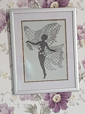 Finished Cross-stitch Fairy In Frame Black Work • 35£
