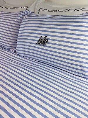 £19.99 • Buy Blue Monogrammed Bedding Set Personalised Bed Linen Stripped Blue Candy Stripe