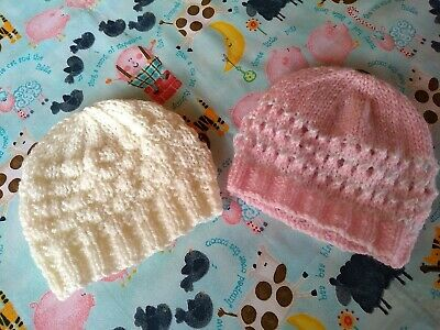 Two Baby Hats. Newborn [ 7-9 Pounds ] Pink/White/Ivory. Hand Knitted. New. • 1.60£