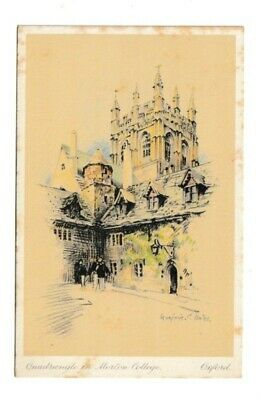 Colour Sketch Postcard Of Quadrangle In Merton College By Marjorie C Bates • 0.99£