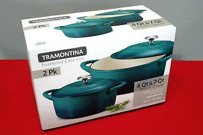 $ CDN124.29 • Buy Tramontina ● Enameled Cast Iron Dutch Oven ● 2 Pack ● 7 Quart & 4 Quart ● Teal