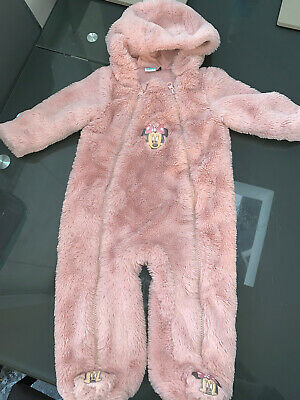 GIRLS 3-6 MONTHS MINNIE MOUSE SNOWSUIT PINK FLUFFY ALL IN ONE ALL Disney • 1.99£