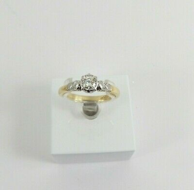 18ct Gold Diamond Ring Platinum Set Size M 1/2 With Gift Box Antique Art Deco • 278£
