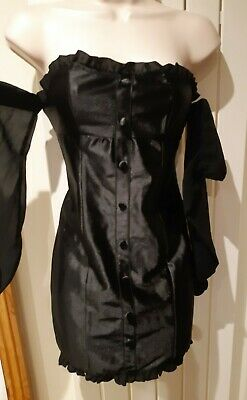 Ladies Lovely Black Satin Type Strapless Bandeau Dress Size S Approx Size 8 • 2.99£