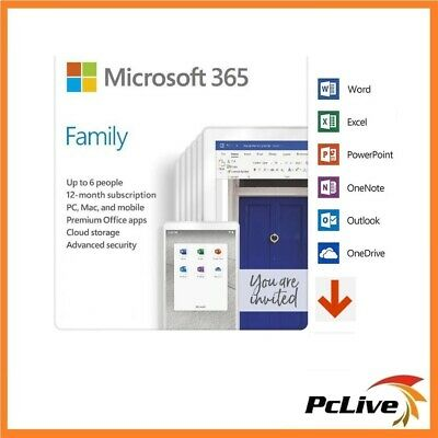 AU111.90 • Buy Microsoft 365 FAMILY Office 6 PC Mac 1Year Home Electronic Software Key Delivery