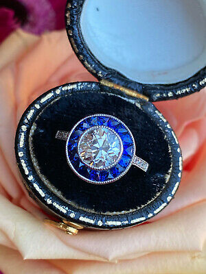 Art Deco Sapphire And Diamond Target Platinum Ring 1.42ct + 0.50ct • 8,950£