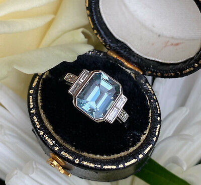 Art Deco Aquamarine And Diamond Platinum Ring 0.30ct + 2.10ct • 1,395£