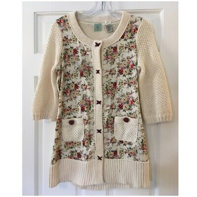 $ CDN10.16 • Buy Anthropologie Monogram HWR Ivory Floral Cardigan Sweater Snap Front Small