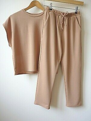 New Womens Light Camel Top And Drawstring Trouser  2-piece Lounge Set Size 8-14 • 12£