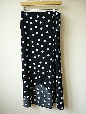 New Womens Ex Branded Black+White Polka Dot Print Wrap High Low Skirt Size 10-12 • 8£