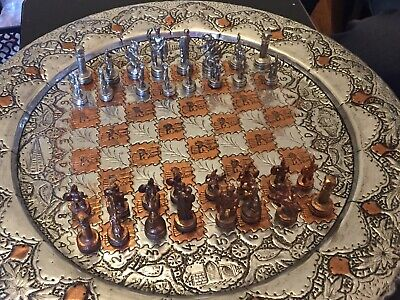 Beautiful Vintage Persian Chess Set In Silver Look And Bronze. • 79.99£