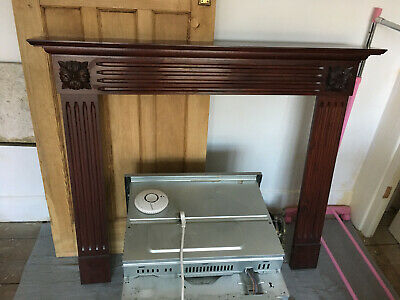 1930's Mahogany Fire Surround Mantle Piece, Marble Inset And Fire Grate Set • 70£