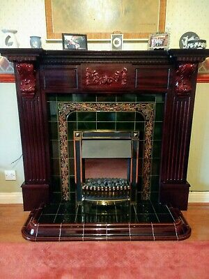 Mahogany Wood Effect Fire Surround With Tiled Hearth/Back In Very Good Condition • 25£