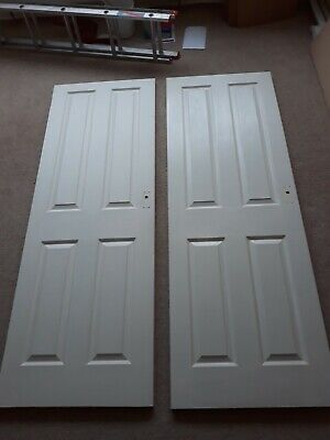 2 White Wooden Interior Doors Internal Reclaim Wood DIY Salisbury  • 20£