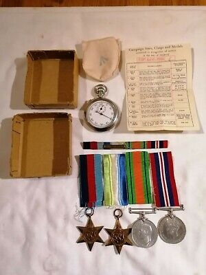 4 WW2 British Medals An Stopwatch. Royal Navy. Original Boxes And Certification. • 40£