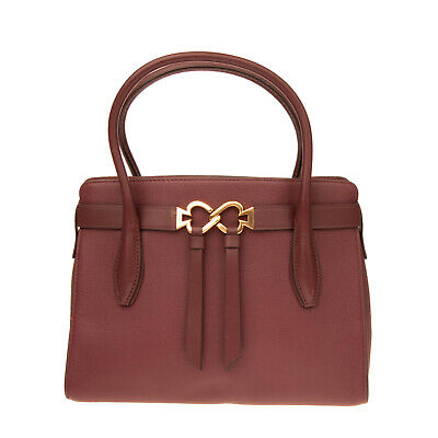 $ CDN69.29 • Buy RRP €295 KATE SPADE NEW YORK Leather Tote Bag Grainy Panel Logo Clasp Open Top
