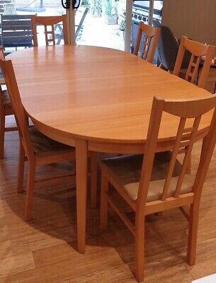 AU249 • Buy Ikea Extendable Dining Table Beech With 8 Matching Aron Chairs