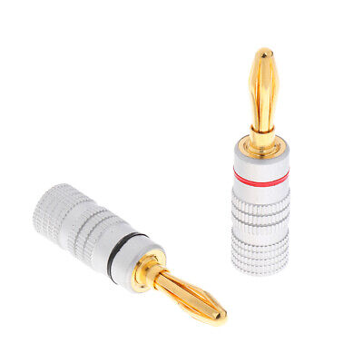 £3.90 • Buy 1Pair Speaker Wire Banana Plugs Gold Plated Screw Audio Connectors Copper