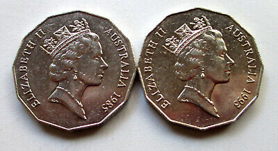 AU10 • Buy 1 1985 + 1 1993 50 Cent Coins.only 1 Million Minted.