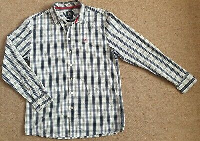 Crew Clothing Tailored Fit Mens Blue White Check Shirt Double Button Size Large • 11.80£