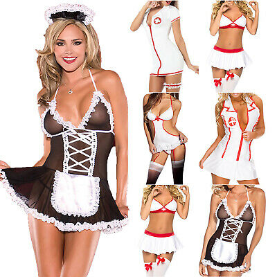 £6.39 • Buy Women Sexy Naughty Maid Nurse Uniform Cosplay Adult Costume Lingerie Outfit