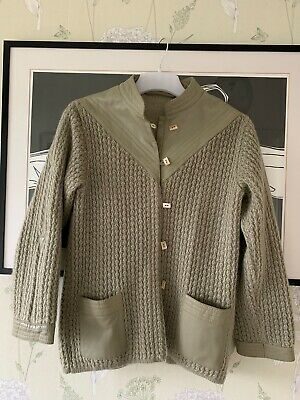 Green Wool Blend & Leather Cardigan/ Knitted Jacket - Size 44 (Chest 40 ) • 3£